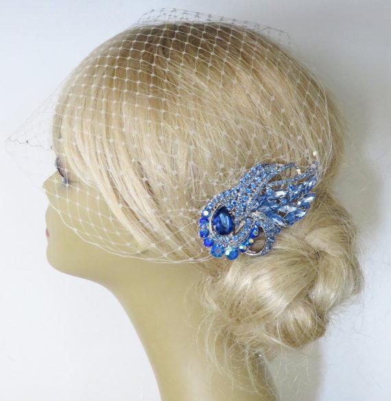 Свадьба - Birdcage Veil  and a Blue  Bridal Hair Comb (2 Items),Headpieces,Bridal Comb ,Wedding comb,bridal headpieces,hair accessories