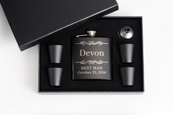 Hochzeit - 9, Personalized Groomsmen Gift, Engraved Flask Set, Stainless Steel Flask, Personalized Best Man Gift, 9 Flask Sets