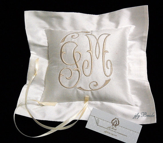 Monogram Wedding Ring Bearer Pillow: Silk Ring Bearer Pillow, Monogrammed Ring Cushion