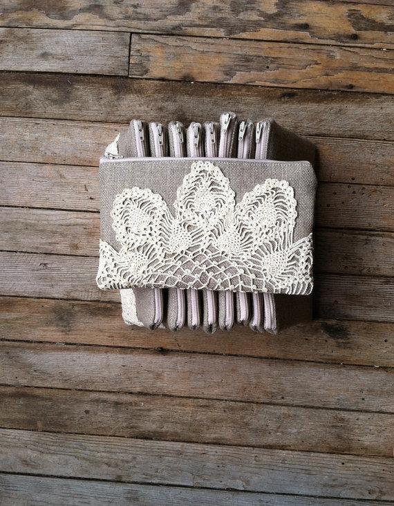 Wedding - Set of 7 - Bridesmaid Gift - Burlap Clutch Vintage Doily - Vintage Wedding - Burlap and Lace Bag