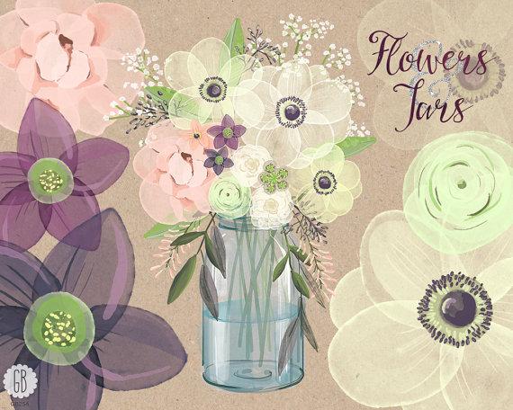 Свадьба - Watercolor mason jar baby breath, anemone, cream rose, hellebores, bouquet florals, clip art, eucalyptus, rustic wedding, invitation