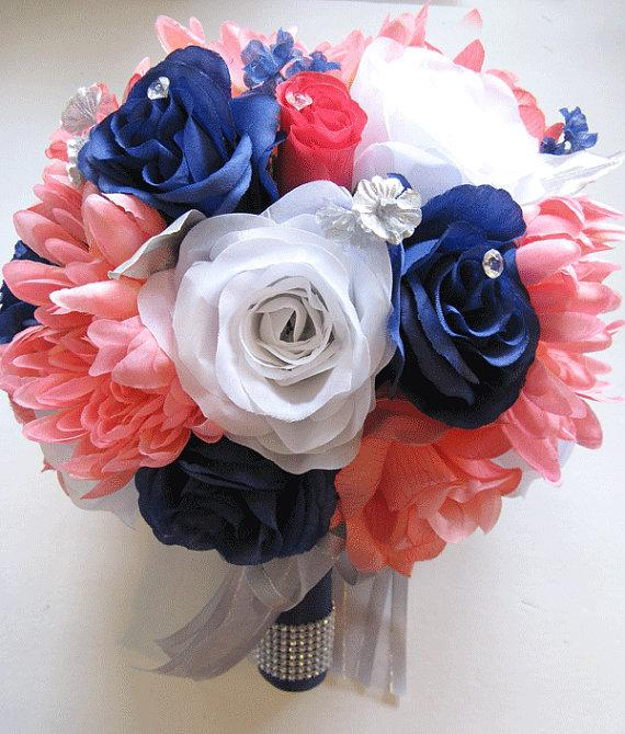 Wedding Bouquet Flowers Bridal Silk 17 Piece Package Coral Navy