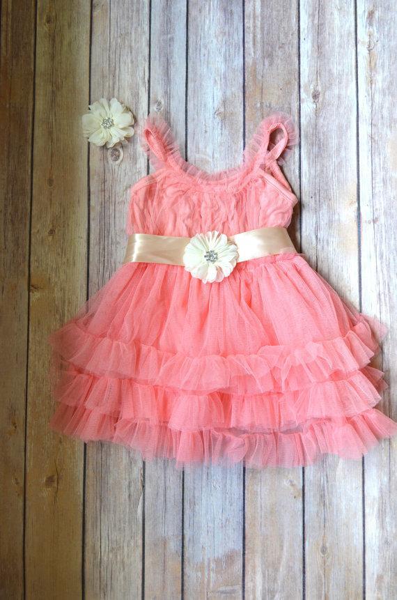 6054552f9d4 Coral Tulle Flower Girl Dress Hair Clip Set
