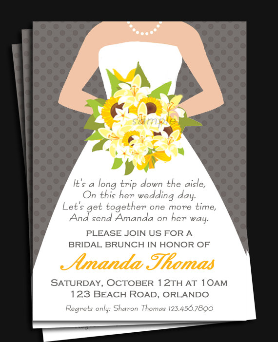 Bridal gown invitation printable or printed with free for Wedding dress bridal shower invitations
