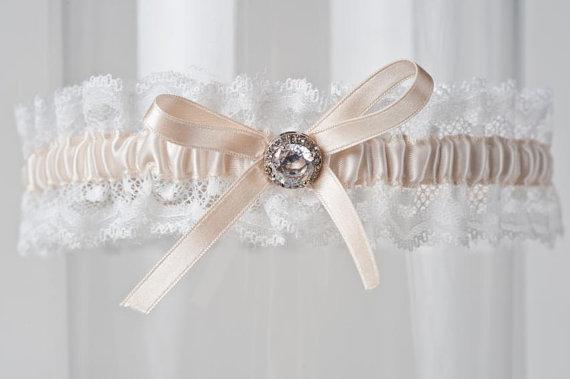 "Mariage - Vintage Wedding Garter Lace Rhinestone ""Corrie"""