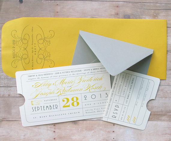 Свадьба - Vintage Ticket Invitation - Theater Premiere Night, Hollywood Movie, Red Carpet Inspired Ticket for Wedding, Birthday, Bar or Bat Mitzvah