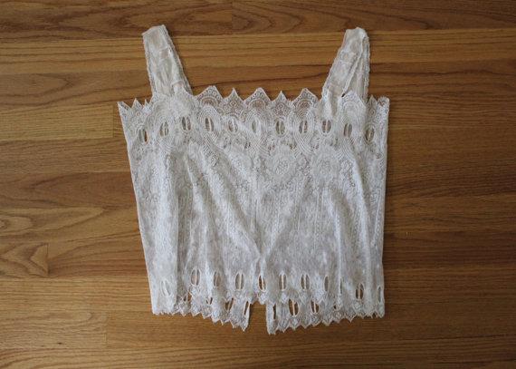 Hochzeit - Antique Lace Camisole / Lace Crop Tank / Vintage Lace Lingerie Top / Lace Blouse / Size S / M