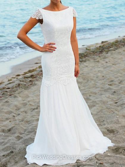 Wedding - Trumpet/Mermaid Sweep Train Lace Chiffon Ruffles Bateau Wedding Dresses