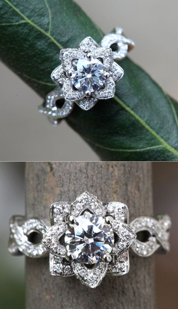 Mariage - EVER BLOOMING LOVE - 1.50 Carat Diamond Engagement Flower Ring - Infinity - Ring On A Green Leaf - Rose - Lotus - Beautiful Petra - FL06