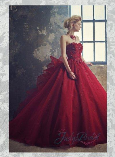 Scarlet Burgundy Colored Organza Ball Gown Wedding Dress