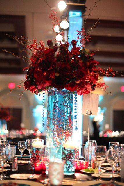 Wedding Theme Red And White Bouquets And Centerpieces