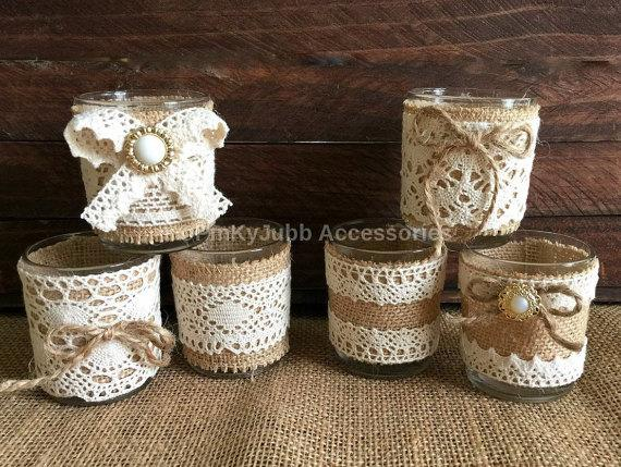 Wedding - 6 rustic naturlap burlap and lace covered votive tea candles, wedding favor or table decoration