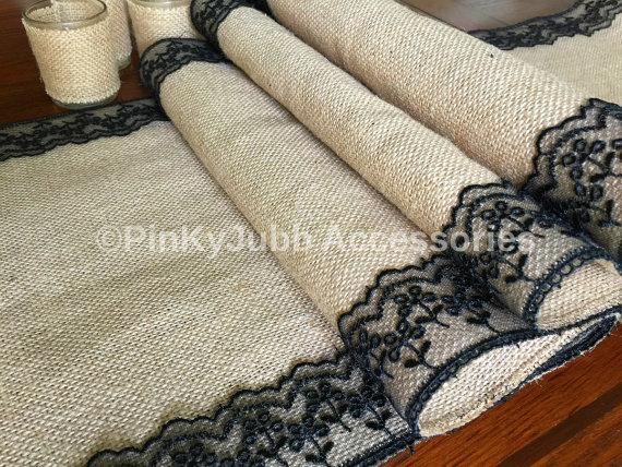 Mariage - rustic burlap table runner with black color lace trim, rustic wedding, engagement table decoration runner