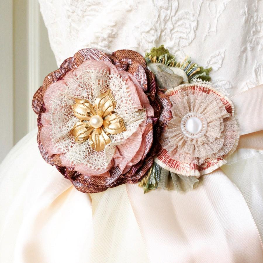 Mariage - Wedding Gown Sash - Plum Purple, Mauve, Gold and Pink Flowers