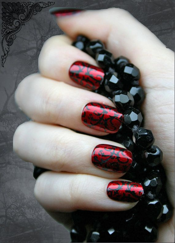 Japanese Nail Art, Red Gothic Baroque Press On Fake Nails