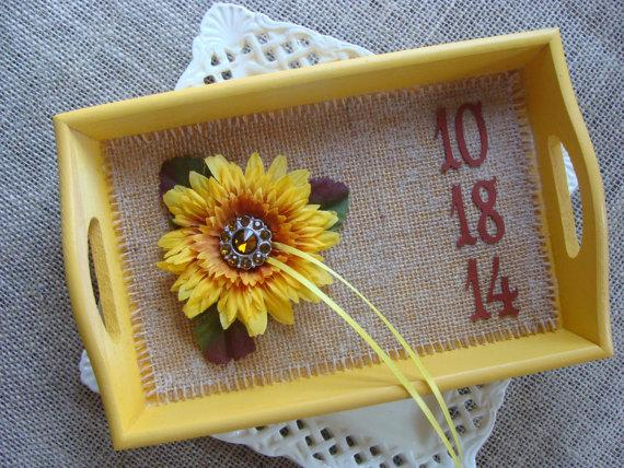 Mariage - Wedding Ring Bearer TRAY - RUSTIC Sunflower - Your Date .