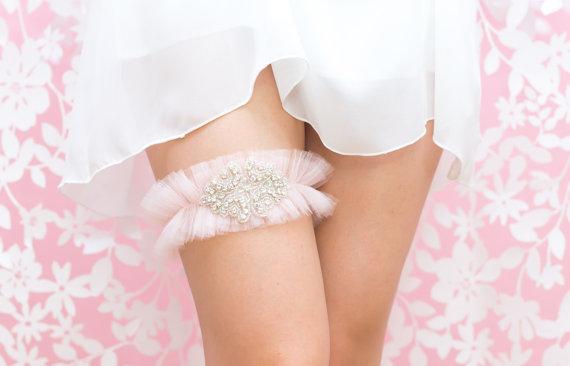 Hochzeit - Reserved for Rose - Rhinestone Wedding Garter Belt- Blush Pink Tulle, Rhinestone Garter, Princess Bride, Lingerie