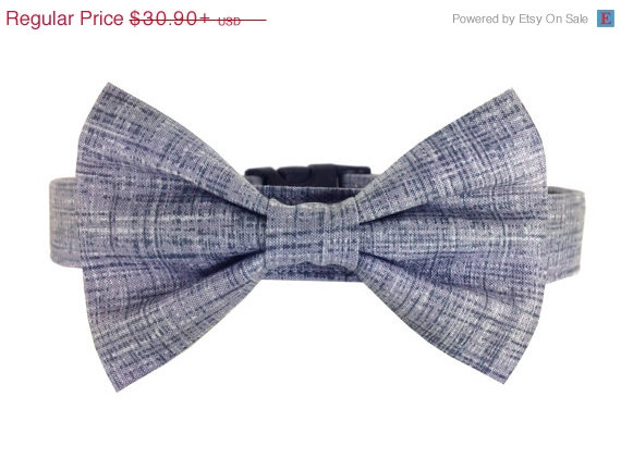 Свадьба - ON SALE Gray Bow Tie Dog Collar Set/ Wedding Dog Collar and Bow Tie: Smoke Washed Linen