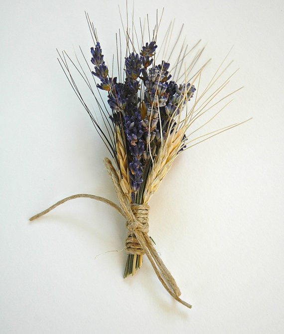 Wedding - Custom Lavender  and Wheat Boutonnieres or Corsages