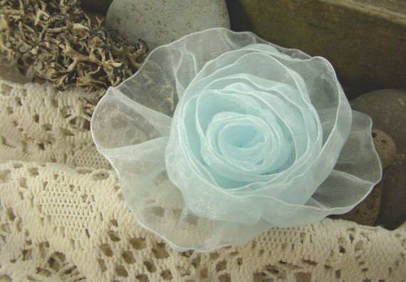 Mariage - Organza Rose in Light Blue - Handmade Ribbon Flower - Something Blue - Brooch, Pin, Hair Clip, Shoe Clips - Pick Your Color