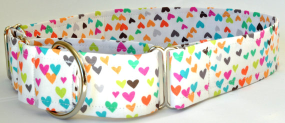 "Mariage - Martingale Dog Collar - Multi Colored Hearts-Valentine or Wedding Collar ""Sorbet Love"" - Available in Any Fabric Und"