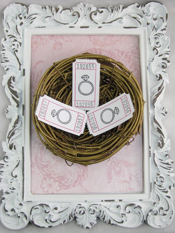 Mariage - Diamond Ring Tickets, Bridal Shower Games, Scrapbooking, Embellishments, Cards, Games, Shabby Chic, Engagement Party Favors - Set of 25