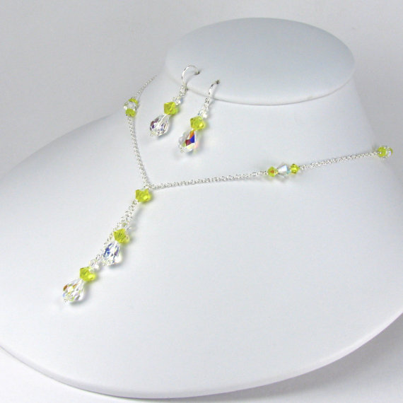 Mariage - Bridesmaid Jewelry Set Yellow Bridesmaid Necklace Earring Set Lariat Necklace Teardrop Swarovski Crystal Necklace Yellow Crystal Stacey