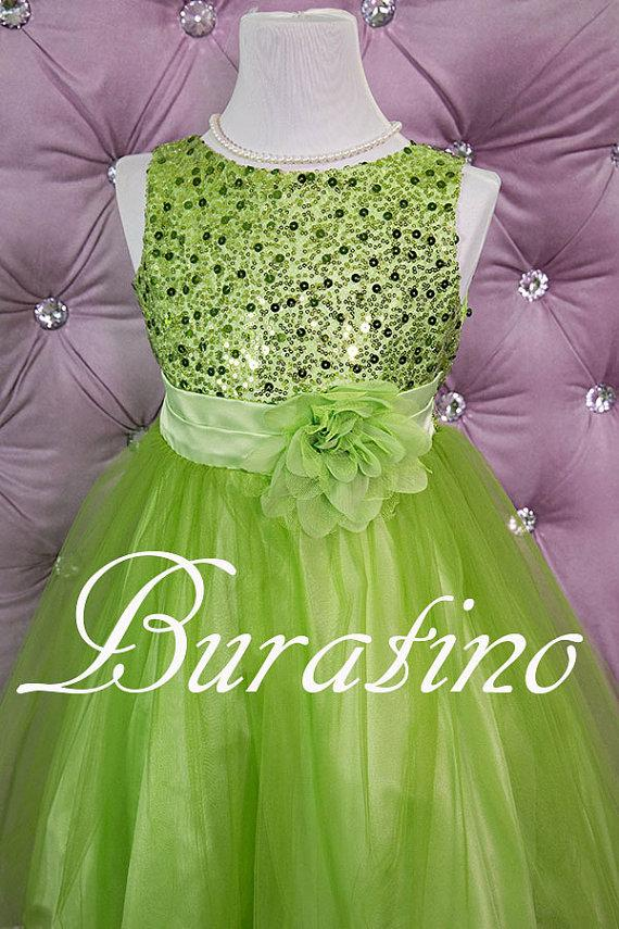 Свадьба - Flower girl Dress Green  Sequin Double Mesh Flower Girl  Special occasion Toddler Girl Dress (ets0155lgr)
