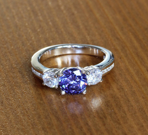 Свадьба - Lab Tanzanite and Genuine White sapphire Solid Sterling silver Trilogy ring - engagement ring - wedding ring