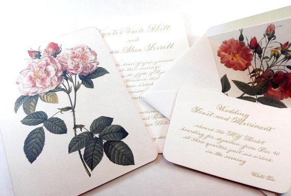 "Wedding - Letterpress Wedding Calligraphy Invitation  on Duplex  Love No. 1 ""Netherfield"""
