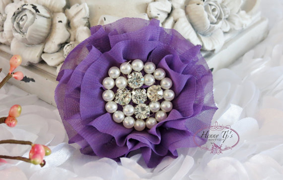 Свадьба - New: Reilly Collection, 2 pcs GRAPE purple Soft Chiffon Ruffled Fabric Flowers w/ Rhinestones Pearls - Layered Bouquet fabric flowers