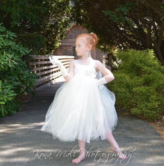Wedding - The Victoria...Flower Girl Tutu Dress...Flower Girl Dress...Ivory Tutu Dress...Birthday Tutu Dress... size 1T,2T,3T4T,5T,6,7/8
