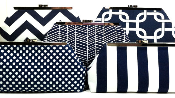 Mariage - Bridesmaids Clutches Bridal Party Clutches Wedding Clutch - Choose Your Fabric Navy Blue Set of 6