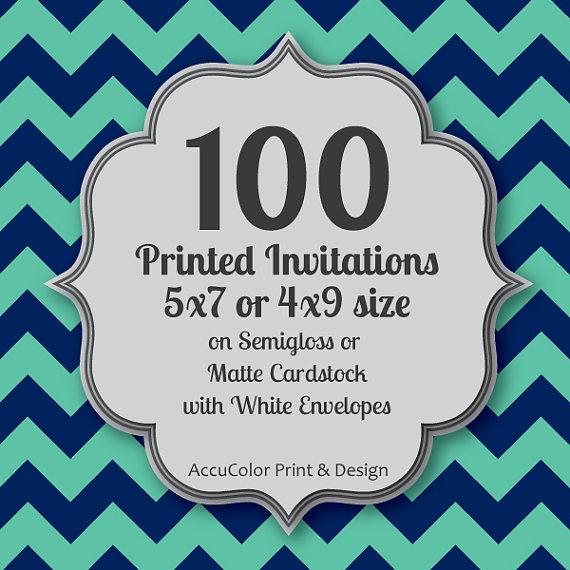 invitation printing 100 custom 5x7 or 4x9 print service fast print wedding anniversary shower birthday invites envelopes