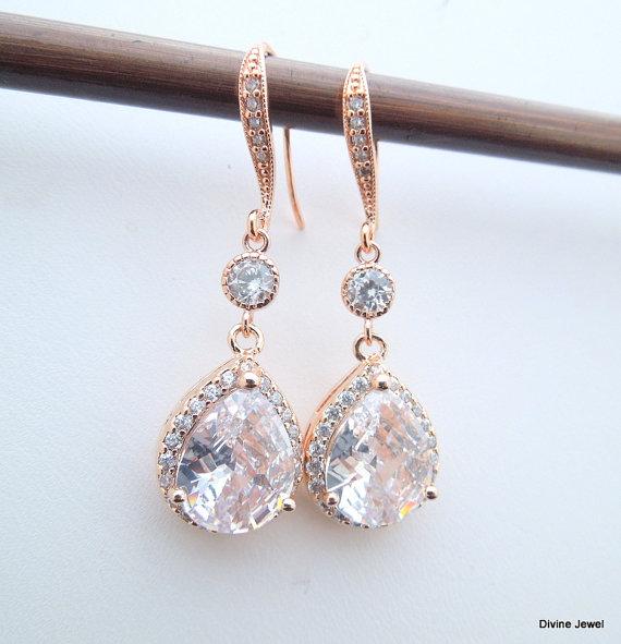 Mariage - Rose Gold Crystal Bridal Earrings Rhinestone Earrings,Bridal Jewelry,Statement Bridal Wedding Earrings,Rhinestone Teardrop Earrings,CZ,ADDA