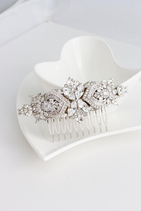 Свадьба - Bridal Comb Crystal Hair Comb Rhinestone Headpiece Wedding Hair Accessories Swarovski Veil Clip GENOA DELUXE