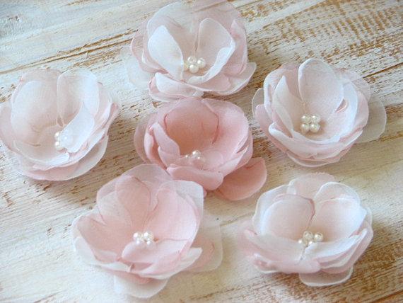 Mariage - Blush hair flowers 1.5 inch hair flower Blush ivory hair flower Ivory pink hair flower Blush hair pins Ivory pink hair flower Petite flowers