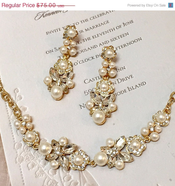 Bridal Gold Bracelet Bridal Jewelry Set Bridal Pearl Crystal Set
