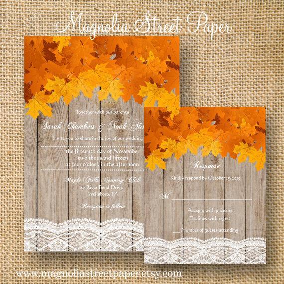 rustic fall wedding invitation printable fall leaves wedding suite