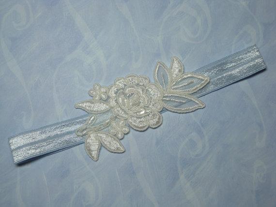 Свадьба - Ivory Flower with Blue Band Garter Single Garter