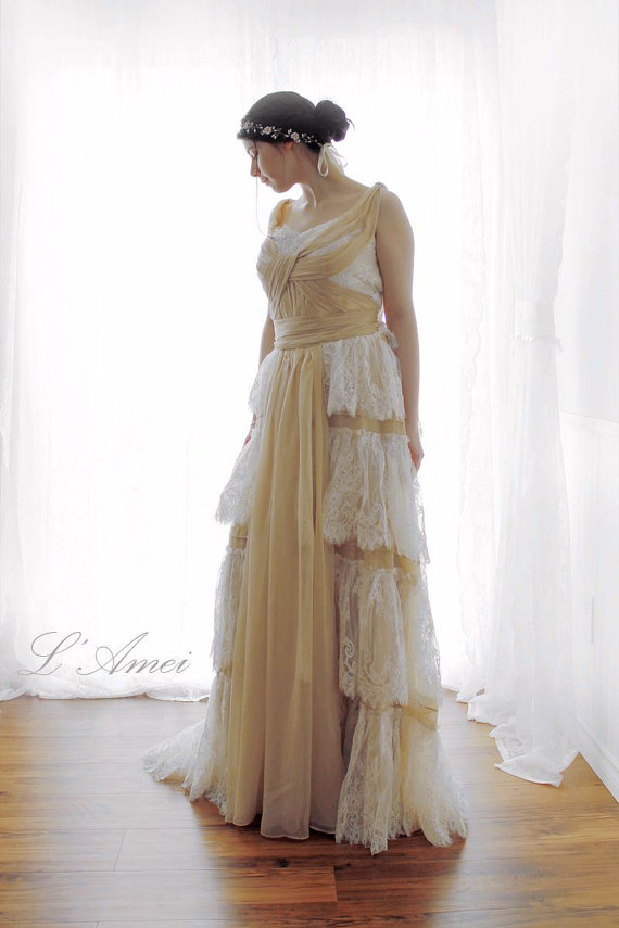 Custom France Lace Beach Wedding Dress Ys 19885023 Boho Chic Country Woodland Bridal Gowns