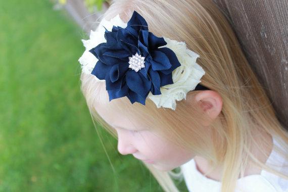 Hochzeit - Navy shabby headband *2 ivory shabby chiffon flowers 1 navy lotus on Navy Hard Headband teen girl wedding flower girl women toddler birthday