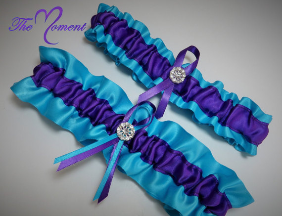huge discount 4fe59 df0b9 Turquoise and Purple Garter Set, Purple and Turquoise Garter Set, Ribbon  Garter, Bridal Garter, Prom Garter, Purple Garter, Turquoise Garter