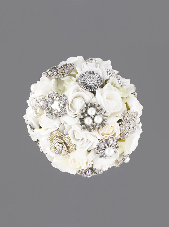 White Brooch Bouquet, Silk Flower Bridal Bouquet, Wedding Bouquet ...