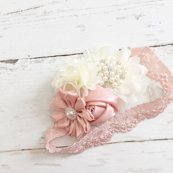 زفاف - Ivory blush pink headband-lace and pearl vintage inspired headband-flower girl wedding special occasion headband