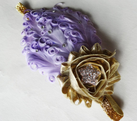زفاف - Twinkle Twinkle Little Star - Gold Star Headband - Purple Feather Hair Piece - Star Photography Props - First Birthday Cake Smash - Glitter