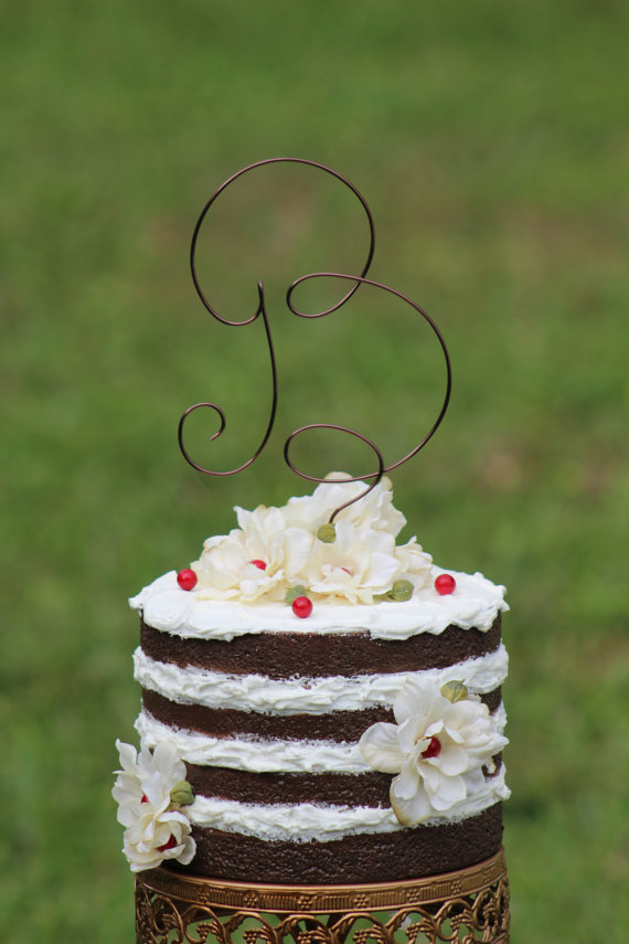 brown wire monogram wedding cake toppers beach wedding bridal shower bride and groom rustic country chic wedding