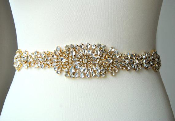 Mariage - Gold Luxury Crystal Bridal Sash,Wedding Dress Sash Belt,  Rhinestone Sash,  Rhinestone Bridal Bridesmaid Sash Belt, Wedding dress sash