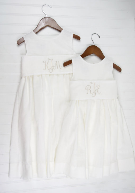 زفاف - Flower Girl Dress- White Linen Dress with Monogrammed Sash for Rustic Weddings