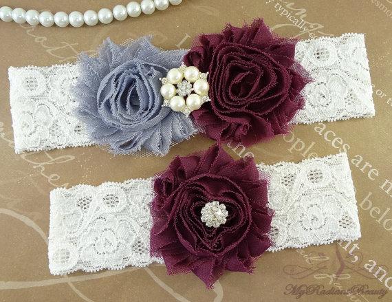 Hochzeit - Wedding Garter, Garter, Bridal Garter, Shabby Chiffon Rosette Gray Plum Garter, Garter set, Garter belt, Plum Garter, Lace Garter GTF0028PL